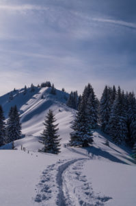Lonely ski touring in beautiful sunny winter landscape, Oberstdorf, Allgau, Germany