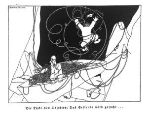 """Cartoon """"Die Tücke des Objektes: Das Seilende wird gesucht..."""" - aus:  """"Mit Seil und Schwartling"""" von 1930, Bergverlag Rudolf Rother"""