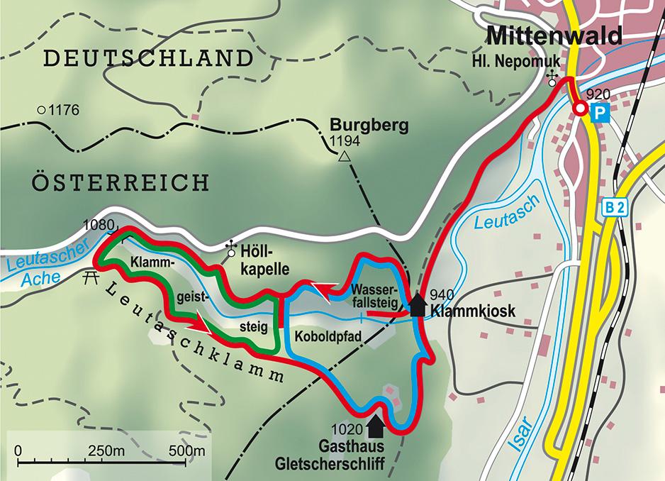 Tour Leutaschklamm Karte @ Rother Bergverlag