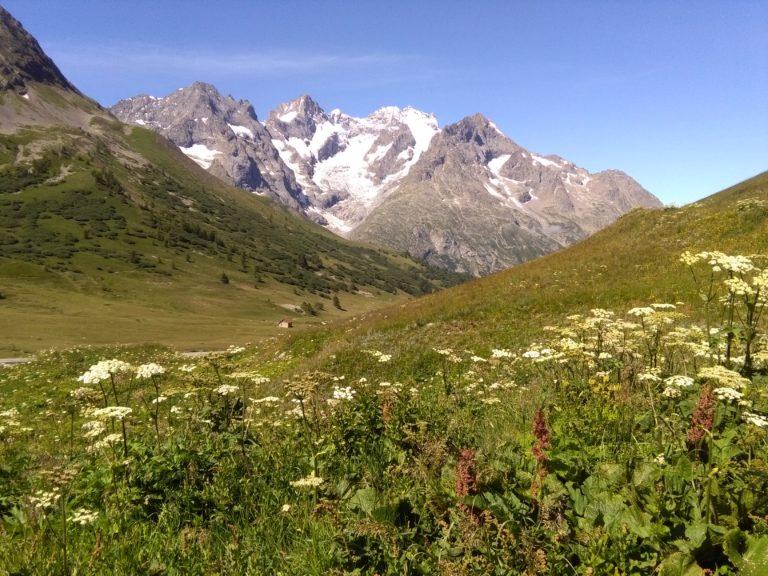 Kurz vor dem Ausgangspunkt zur Grande Ruine, Blcik auf Meije, Dauphiné, Nationalpark Écrins, Französische Alpen, Hochtour