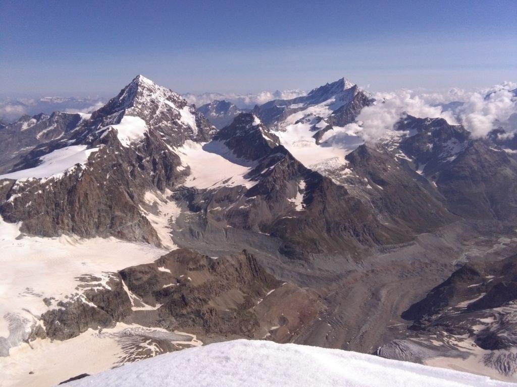 Blick von der Dent d'Hérens auf die Dent Blanche, Aostatal, Wallis, Viertausender, Hochtour