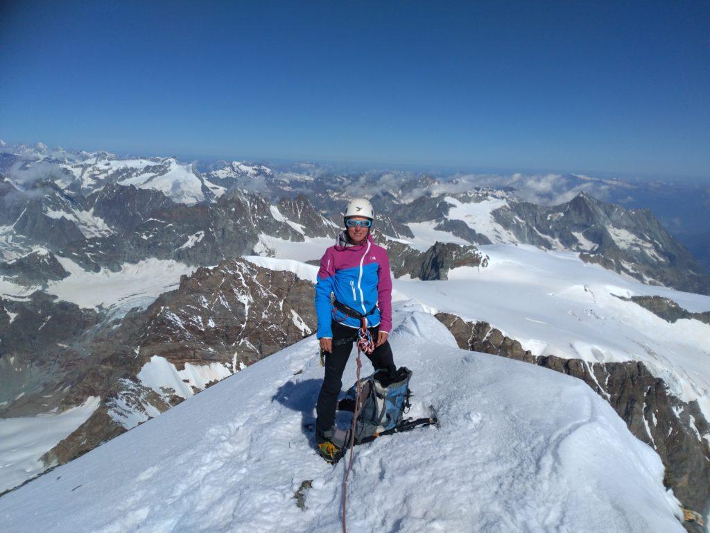 Auf dem Gipfel der Dent d'Hérens, Aostatal, Wallis, Viertausender, Hochtour