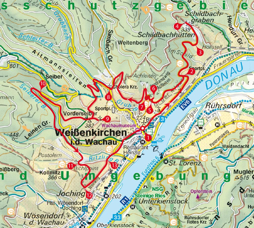 Tourenkarte Weißenkirchen Weingarten-Runde